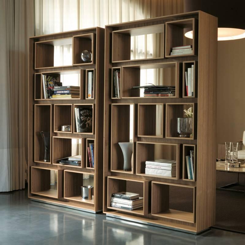 Porada first bookcase wooden living room furniture for Modern living room storage units
