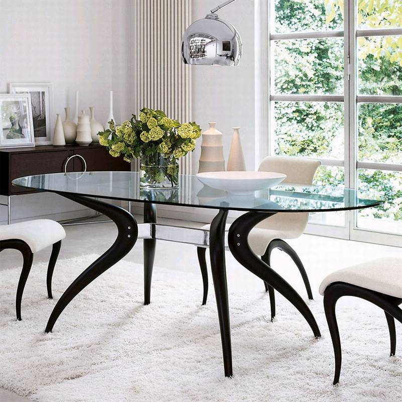 porada retro oval dining table glass dining room furniture ultra