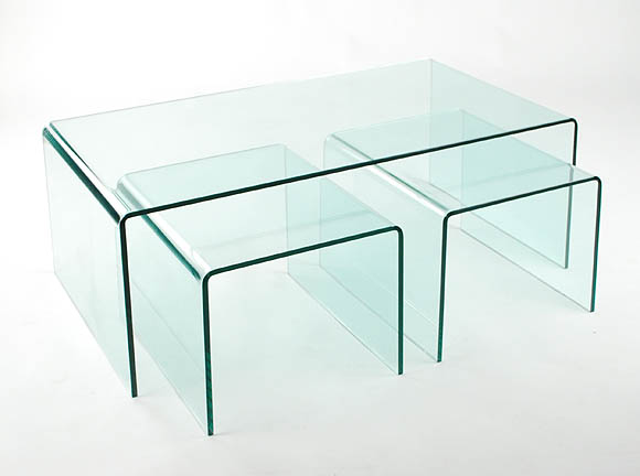 Viva Modern Arch (Waterfall) Coffee Table Nest End Table | Bent Glass |  Curved Glass | Cocktail Table   Contemporary Furniture From Ultra Modern