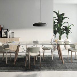 Connection Dining Table (Glass Top) by Huppe