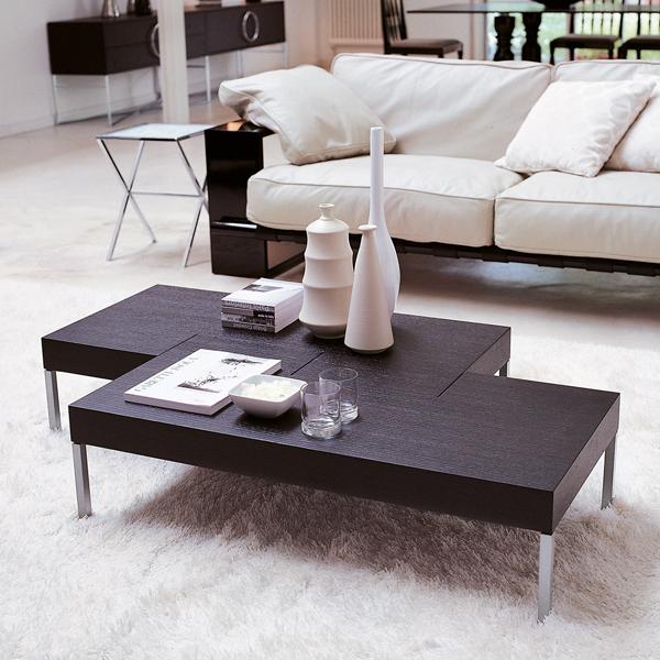 Unico Italia Modern Enigma Glass Coffee Table With Shelf: Porada Puzzle Coffee Table
