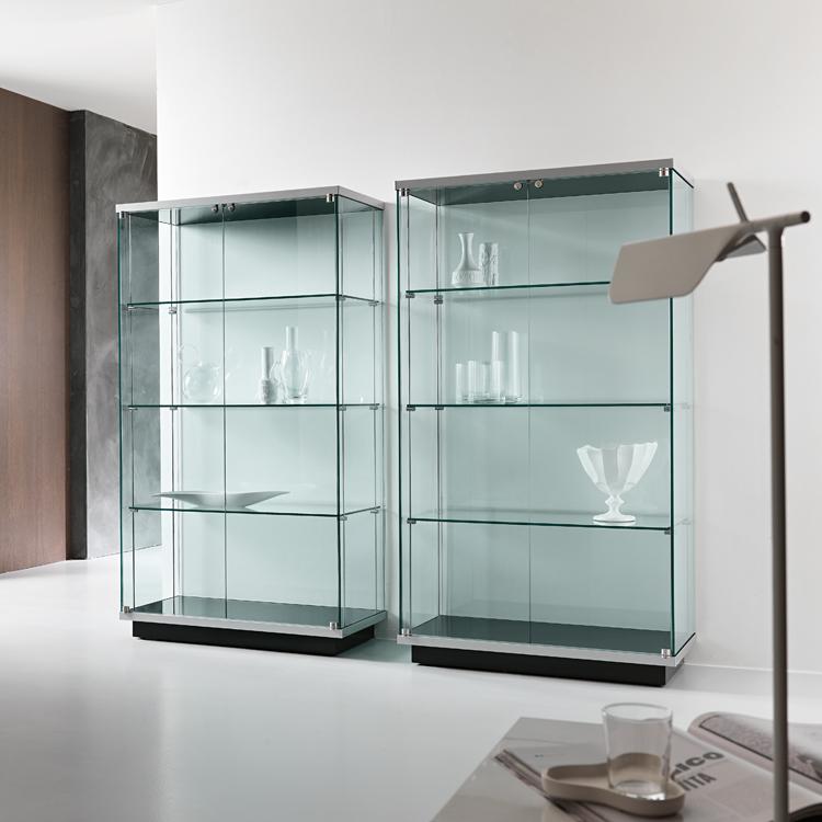 Unico Italia Modern Enigma Glass Coffee Table With Shelf: Tonelli Broadway Vetrina 2 Cabinet