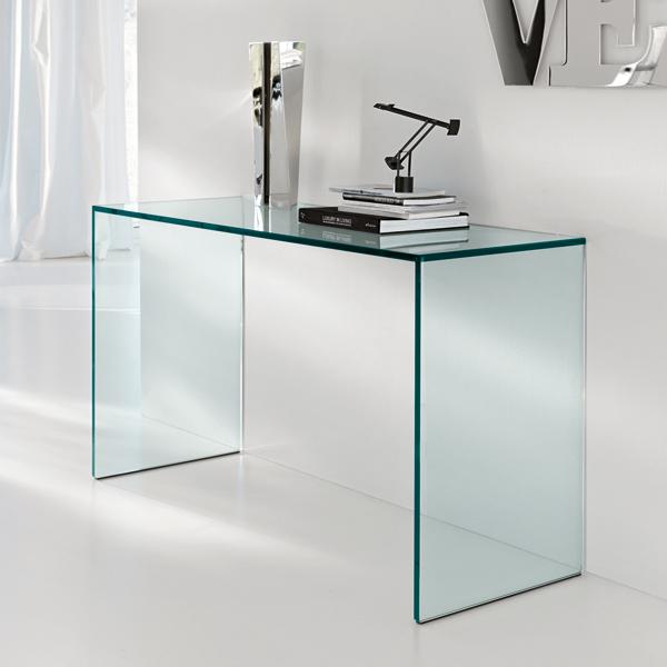 Unico Italia Modern Enigma Glass Coffee Table With Shelf: Tonelli Gulliver Console Table