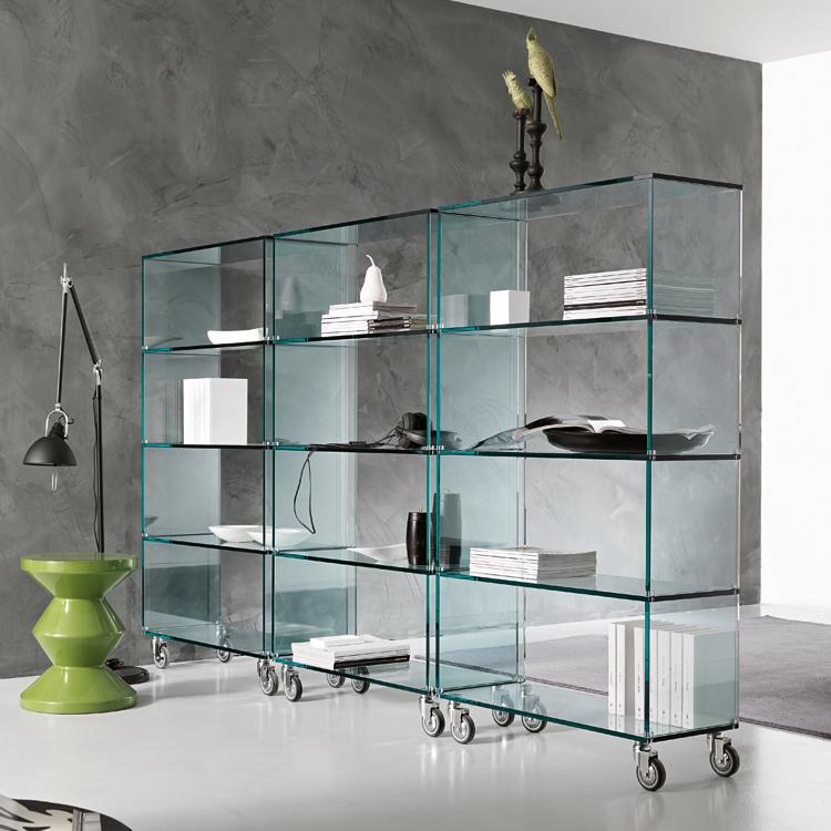 Unico Italia Modern Enigma Glass Coffee Table With Shelf: Tonelli Libreria Bookcase