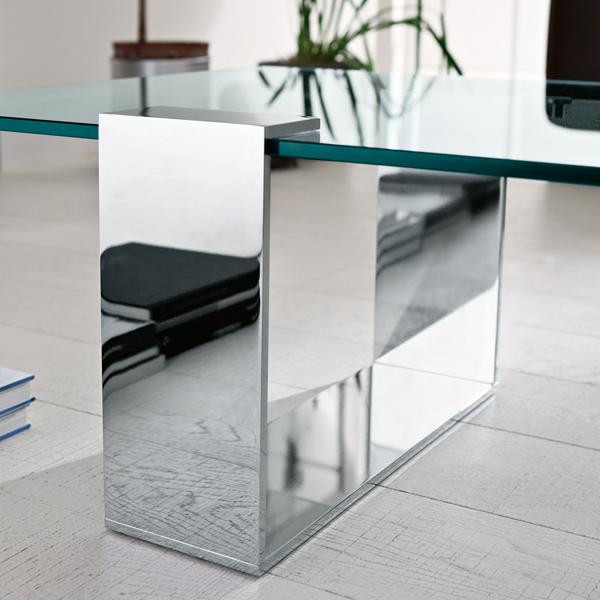 Unico Italia Modern Enigma Glass Coffee Table With Shelf: Tonelli Plinsky Coffee Table