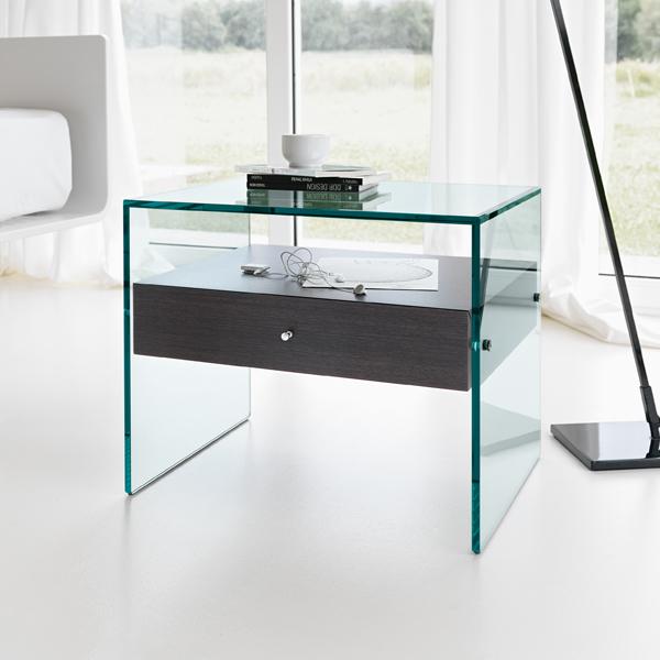 Unico Italia Modern Enigma Glass Coffee Table With Shelf: Tonelli Secret End Table