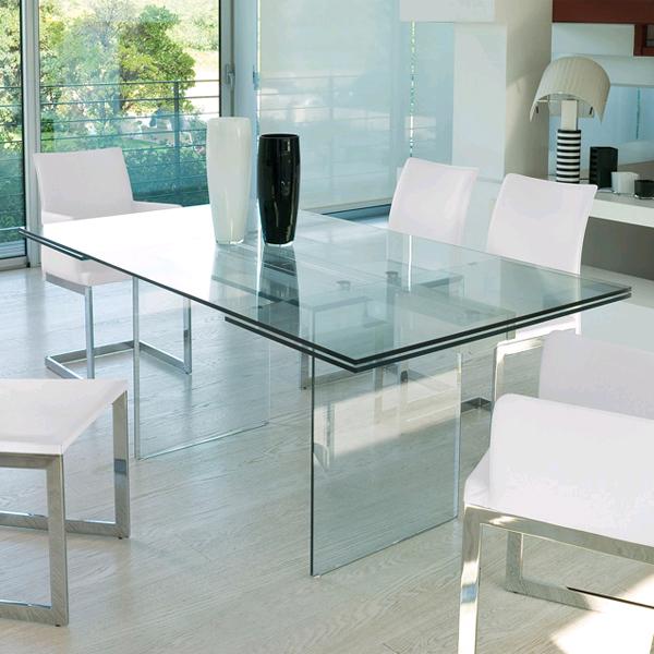Unico Italia Modern Enigma Glass Coffee Table With Shelf: Antonello Italia Miami Dining Tables