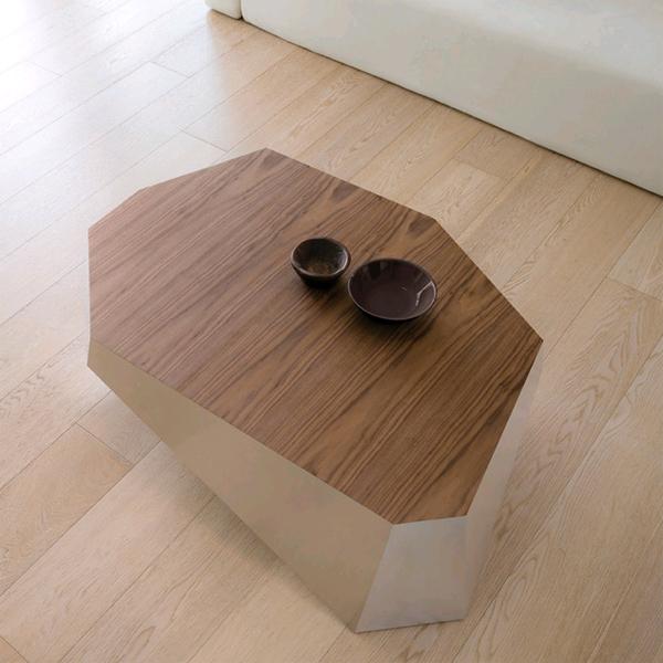 Unico Italia Modern Enigma Glass Coffee Table With Shelf: Antonello Italia Diamante Coffee Table