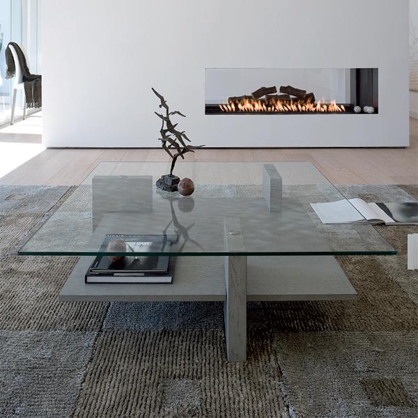 Unico Italia Modern Enigma Glass Coffee Table With Shelf
