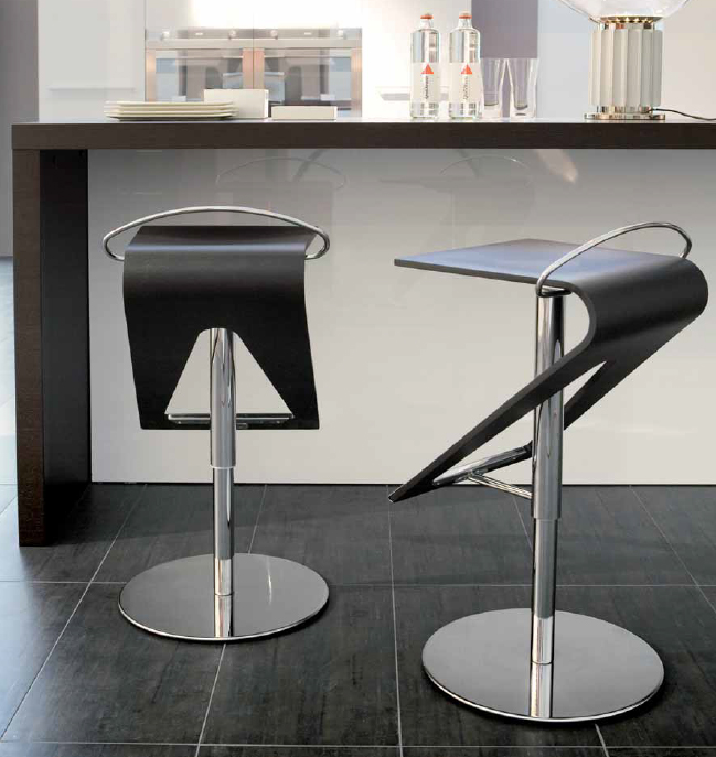 Trabaldo Zag Stool Wooden Leather Contemporary