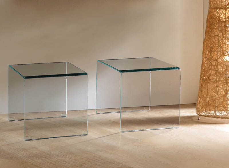Viva Modern Arch Small Sofa End Tables Bent Glass Curved