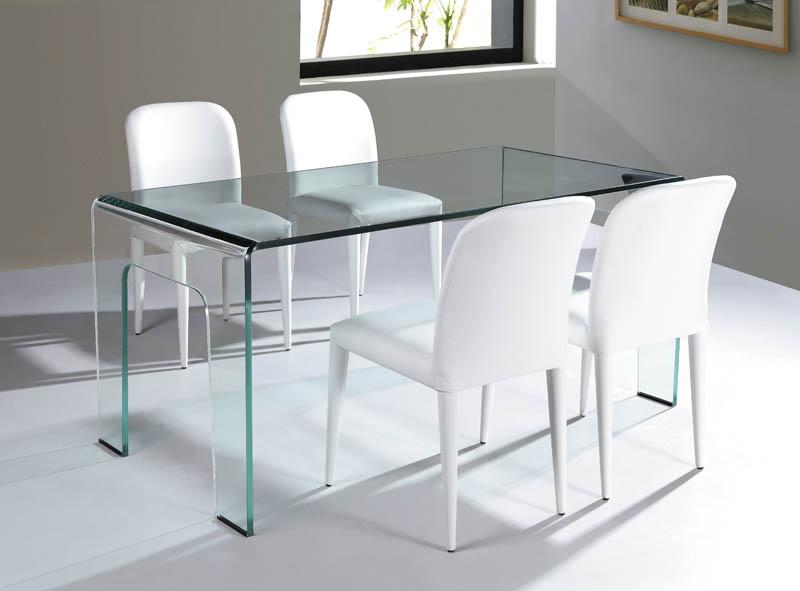 Viva Modern Cristallo Dining Table Desk Bent Glass