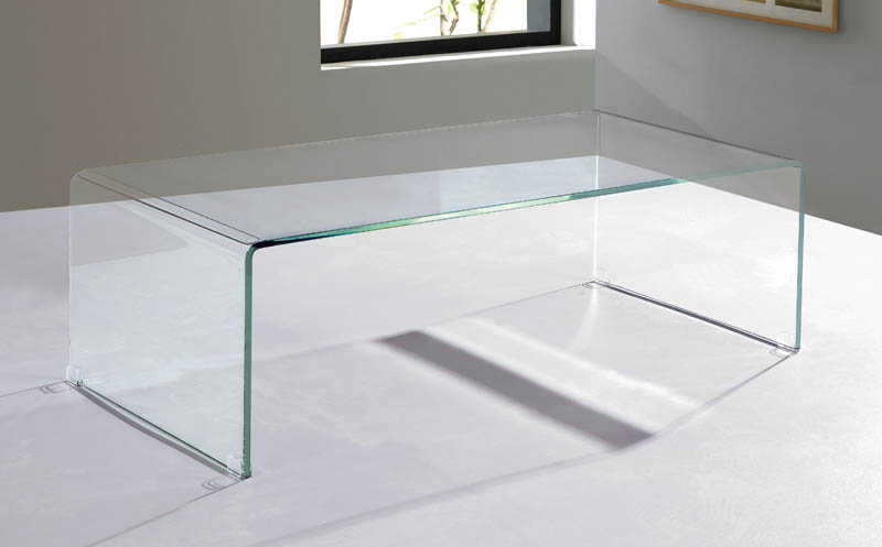 Viva Modern Arch (Waterfall) Coffee Table   Extra Clear Glass Bent Glass |  Curved Glass | Cocktail Table | Living Room Furniture   Contemporary  Furniture ...