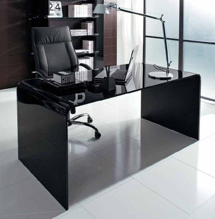 Unico Italia Modern Enigma Glass Coffee Table With Shelf: Unico Italia Golden Desk Desks
