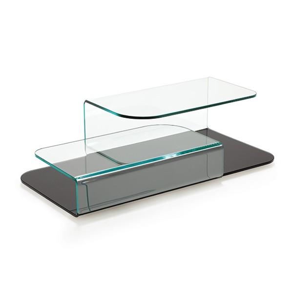 Unico Italia Modern Enigma Glass Coffee Table With Shelf: Sovet Hug Coffee Tables