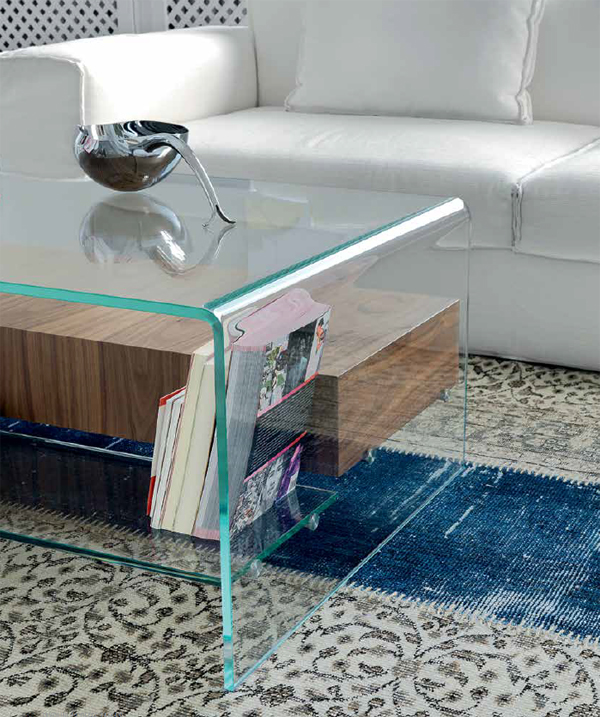 Puro Glass Coffee Table Clear: Sovet Bridge With Shelf/Drawer Coffee Tables