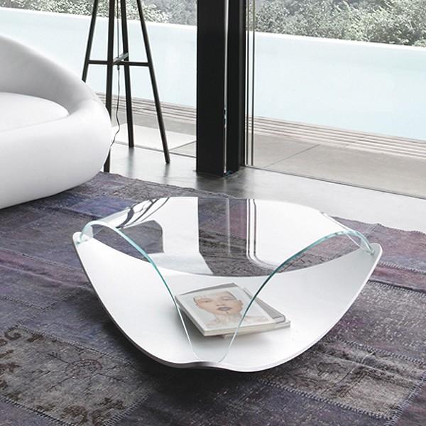 Unico Italia Modern Enigma Glass Coffee Table With Shelf: Tonin Casa Quiet 8194 Coffee Tables