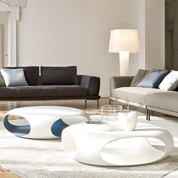 Unico Italia Modern Enigma Glass Coffee Table With Shelf: Bonaldo Pebble Plastic