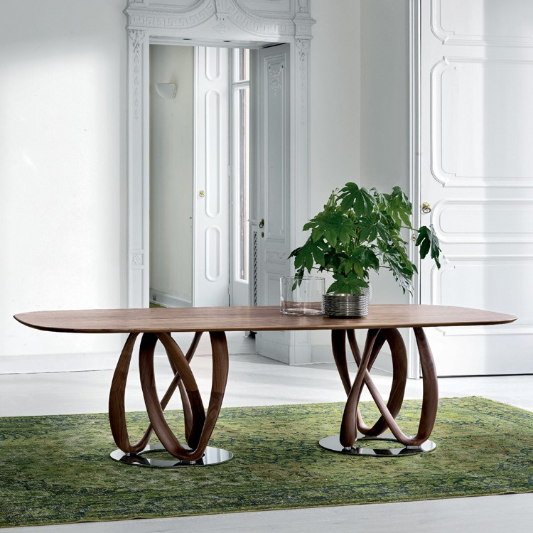Porada Infinity Wood 2 Base Dining Tables Oval Elliptical Top Wooden Room Contemporary Furniture From Ultra Modern