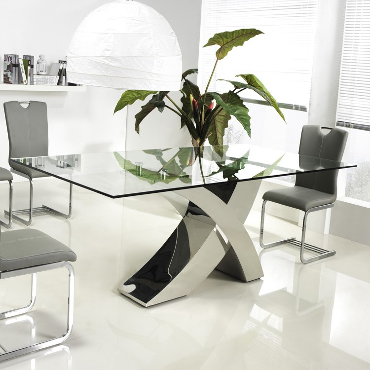 Unico Italia Modern Enigma Glass Coffee Table With Shelf: Casabianca Geneva CB-T034 Dining Tables