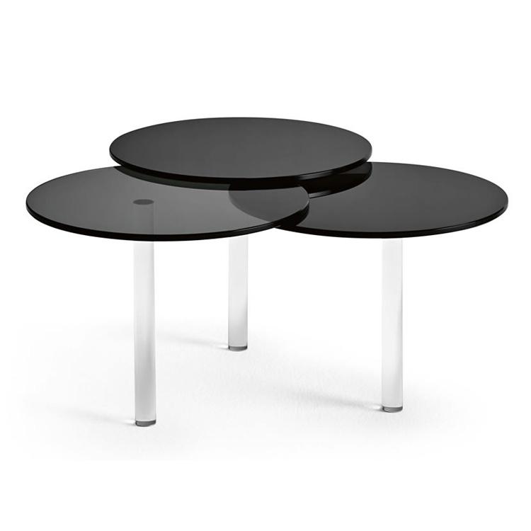 Unico Italia Modern Enigma Glass Coffee Table With Shelf: Tonelli Lenses Coffee Tables