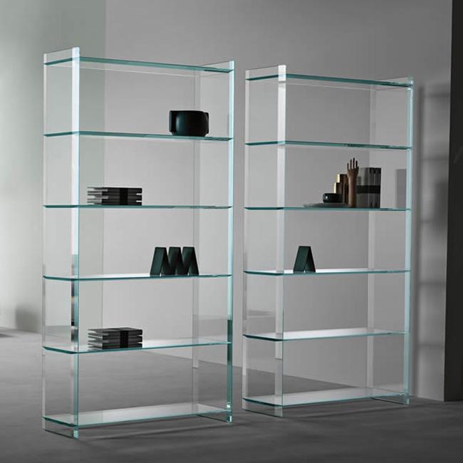 Unico Italia Modern Enigma Glass Coffee Table With Shelf: Tonelli Quiller Libreria Bookcases