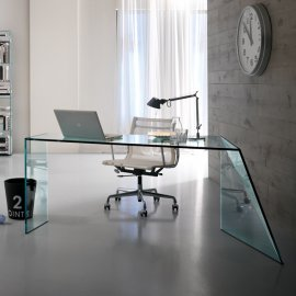 Penrose Glass Office Desk Desks by Tonelli