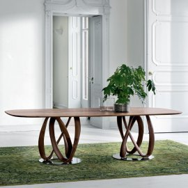 Infinity Wood 2 Base  Dining Table by Porada
