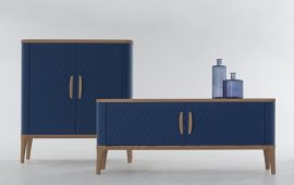 Tiffany Wood and Leather Cabinet Cabinet by Tonin Casa