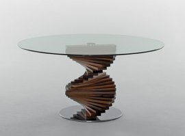 Firenze Round Glass and Wood Dining Table by Tonin Casa