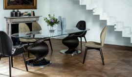 Big Firenze Glass and Wood Dining Table by Tonin Casa