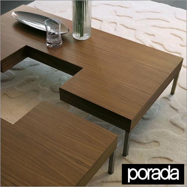Unico Italia Modern Enigma Glass Coffee Table With Shelf: Porada Puzzle, Wooden Coffee Table