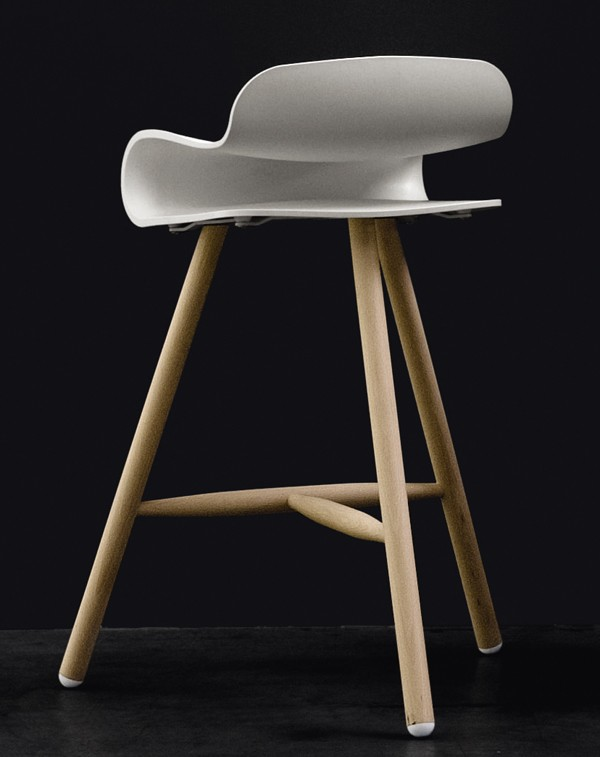 BCN Wooden Base stool from Kristalia