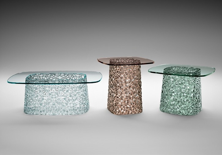 Macrame end table from Fiam, designed by Lucidi and Pevere