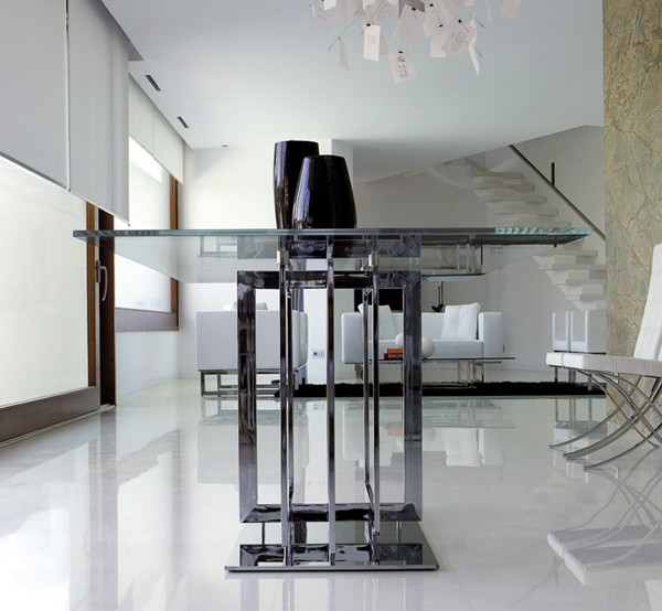 Steelline Trilogy Glass Dining Table Contemporary Dining