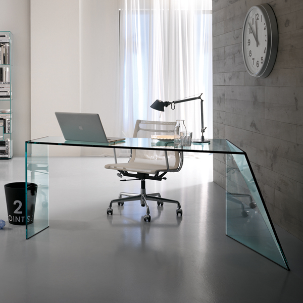 Penrose Glass Office Desk from Tonelli, designed by Isao Hosoe