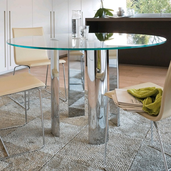 Antonello Italia Scott Round Glass Dining Table ...