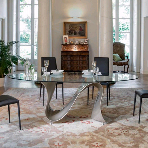 Wave 8014 Oval dining table from Tonin Casa