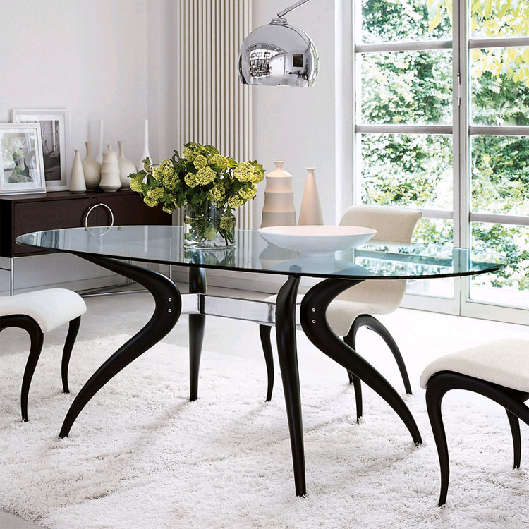 Porada Retro Oval Glass Dining Table Contemporary Dining Room Furniture Ultra Modern