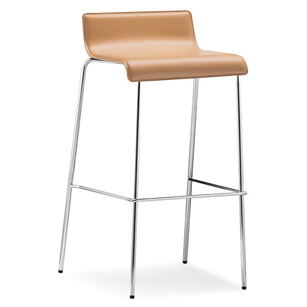 Kuadra Leather Stool from Pedrali