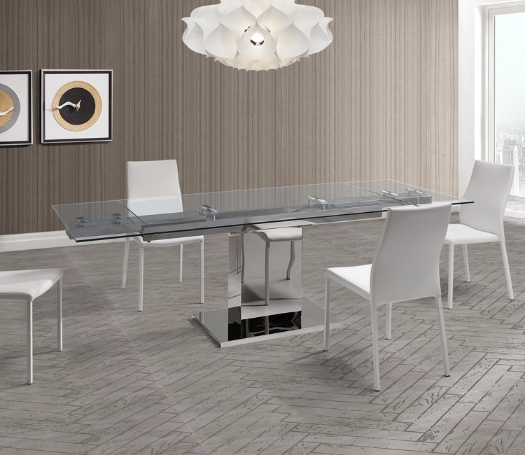 Whiteline Slim Glass Dining Table Contemporary Dining