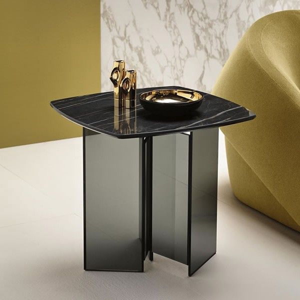 Metropolis Side Table Ceramic end from Tonelli, designed by G. Maurizio Scutellà