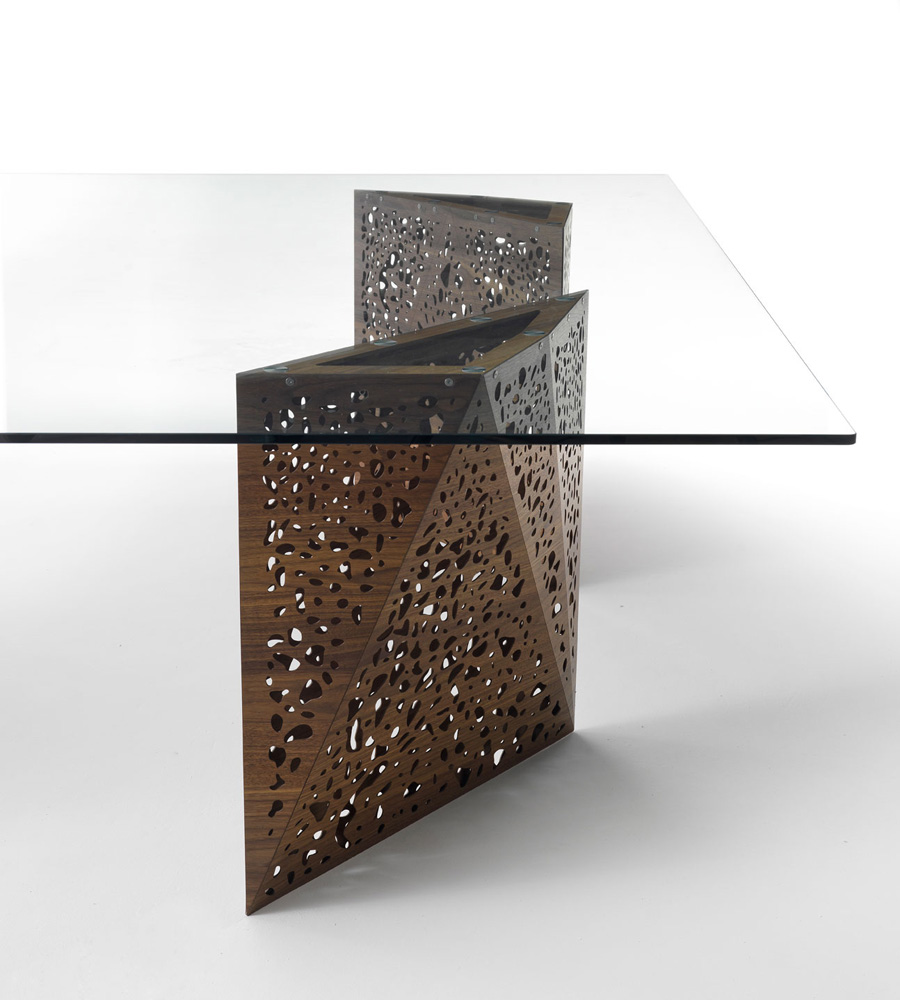 Riddled Table Squared dining from Horm, designed by Steven Holl