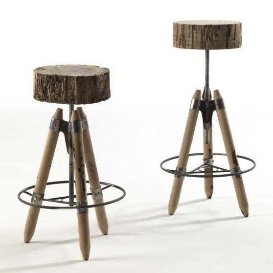 Brichello stool from Riva 1920, designed by Franco & Matteo Origoni