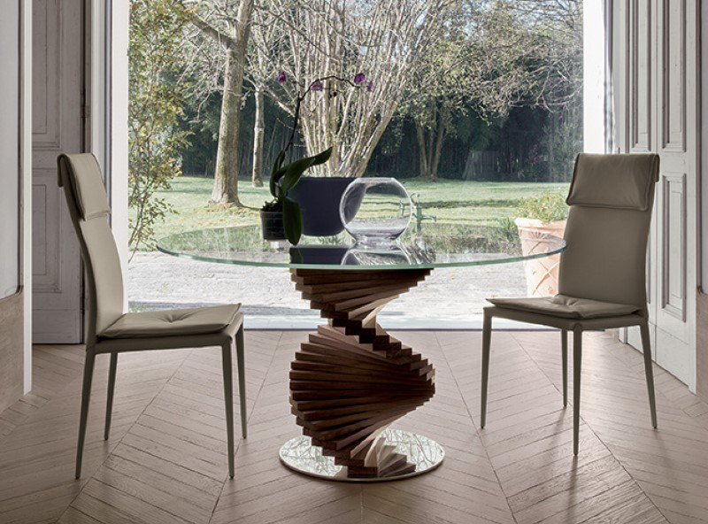 Firenze Round Glass and Wood Dining Table from Tonin Casa