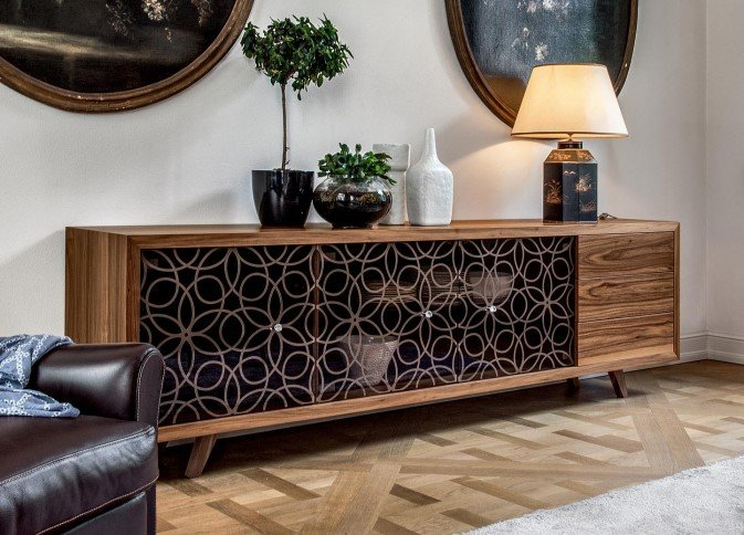 Granada Wood and Glass Cabinet from Tonin Casa