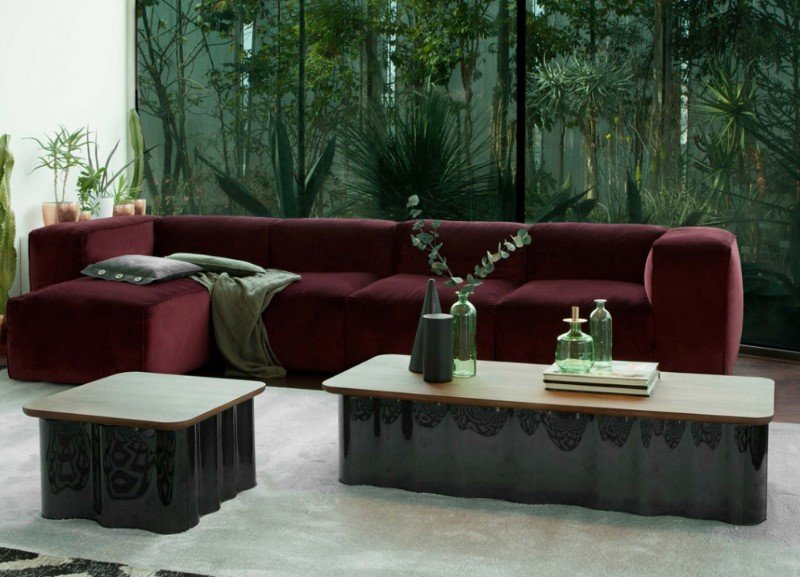Drape Wood and Glass Coffee Table from Tonin Casa