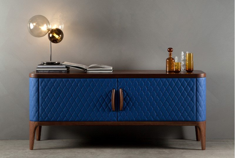 Tiffany Wood and Leather Cabinet from Tonin Casa