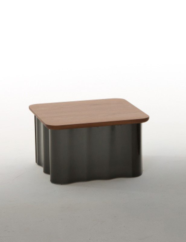 Drape Wood and Glass End Table from Tonin Casa