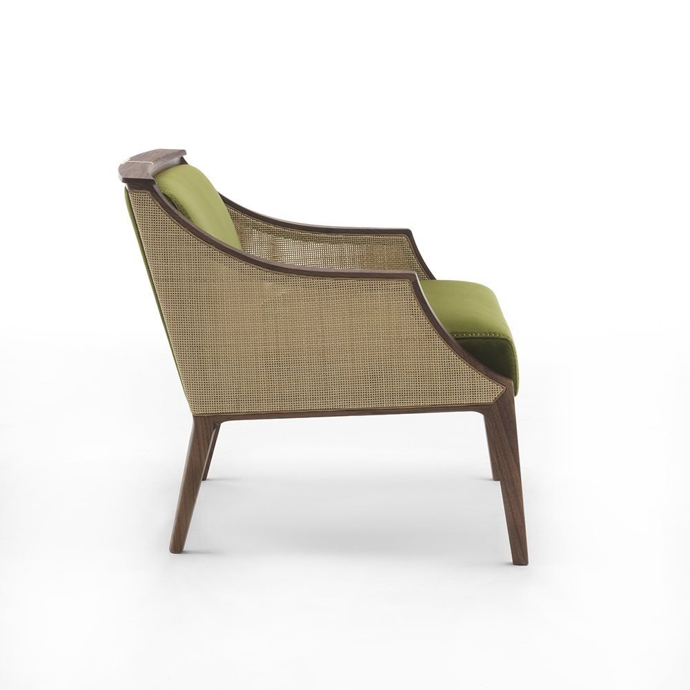 Liala Straw Easy Chair lounge from Porada, designed by U. Asnago